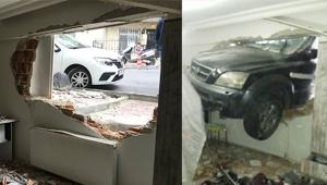 Freni patlayan otomobil eve girdi