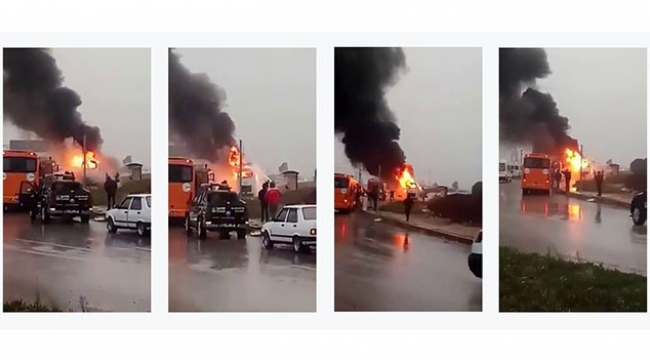 İşçileri taşıyan araç seyir halindeyken yandı