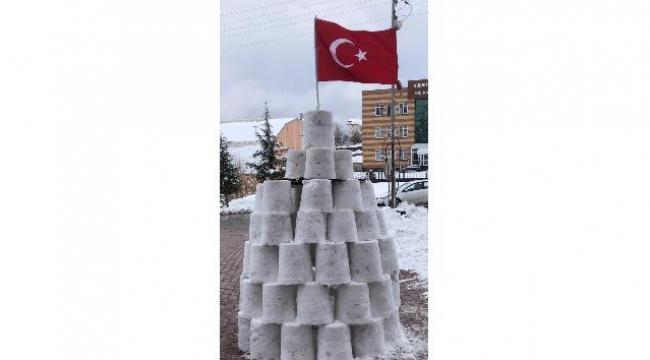 60 kova kar ile kule yaptı