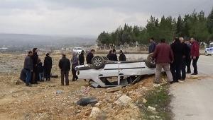 Araç takla attı aynı aileden 7 kişi sağ kurtuldu