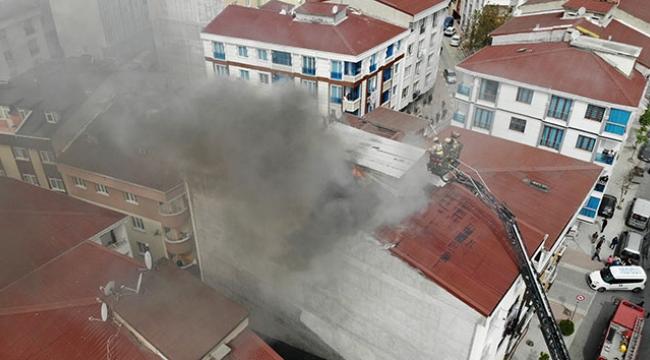 5 katlı binada çıkan yangın böyle görüntülendi