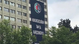 Ankara Barosu'ndan karşı binadaki YSK'ya imalı pankart