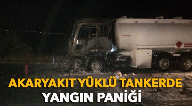 Akaryakıt yüklü tankerde yangın paniği