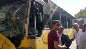 Freni patlayan otobüs bir yaya ile iki araca çarptı