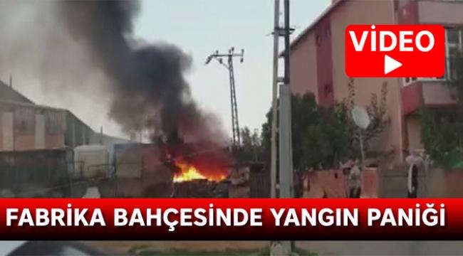 Fabrika bahçesinde yangın paniği