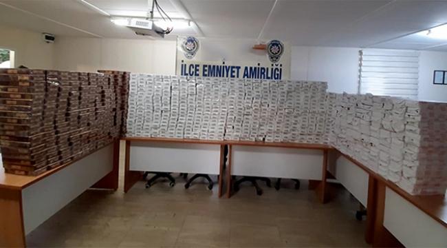 8 bin paket kaçak sigara ele geçirildi