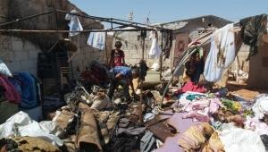 Mülteci kampında yangın paniği