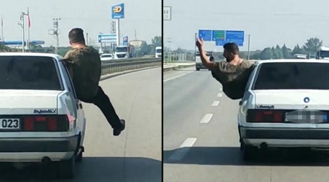 Otomobilin camında tehlikeli anlar