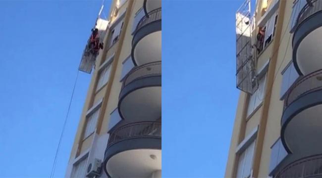 İki işçi 8. katta iskelede mahsur kaldı