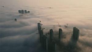 Yuanjiang kentinde sis etkili oldu