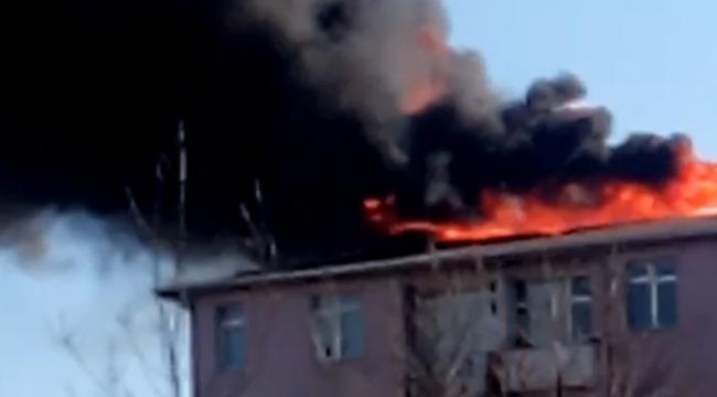 İzolasyon yapılan binanın çatısında yangın!