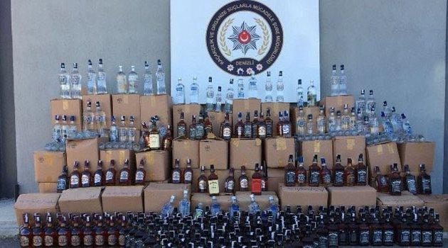 Bin 375 şişe kaçak içki ele geçirildi