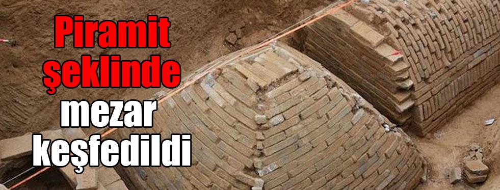 Piramit şeklinde mezar keşfedildi