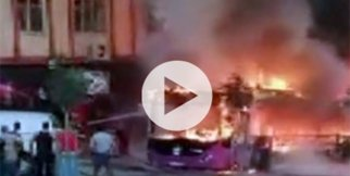 Özel halk otobüsü yandı!